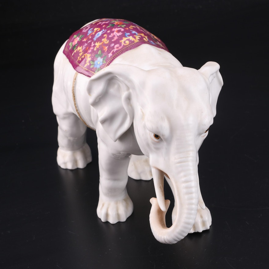Ernst Bohne & Söhne Porcelain Elephant, Early to Mid 20th Century
