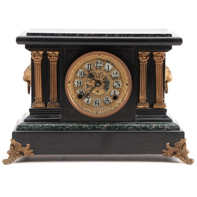 Seth Thomas Adamantine Black Mantel Clock, Late 19th Century