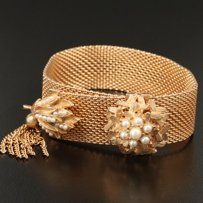 Vintage Faux Pearl Slide Bracelet with Tassel and Floral Motif