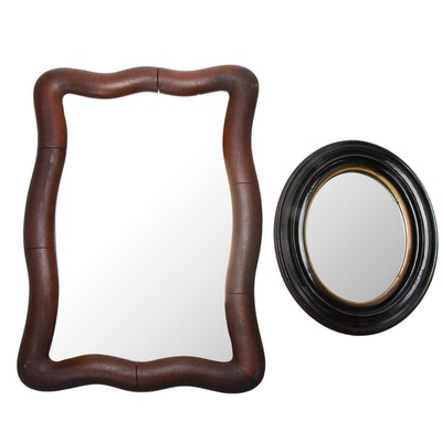 Oval and Irregular Shaped Wood Wall Mirrors