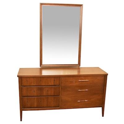 "Broyhill Mid Century Modern ""Saga"" Walnut Dresser and Mirror"