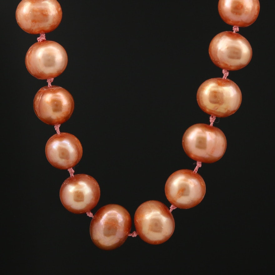 Yellowish Brown Pearl Knotted Necklace with 14K Clasp