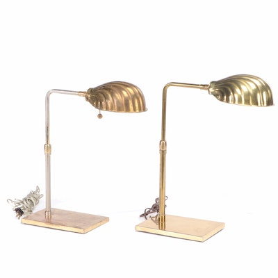 Pair of Mid Century Modern Clamshell Brass Pharmacy Table Lamps