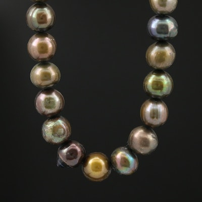 Single Strand Pearl Necklace with Turquoise Accent and 14K Gold Clasp