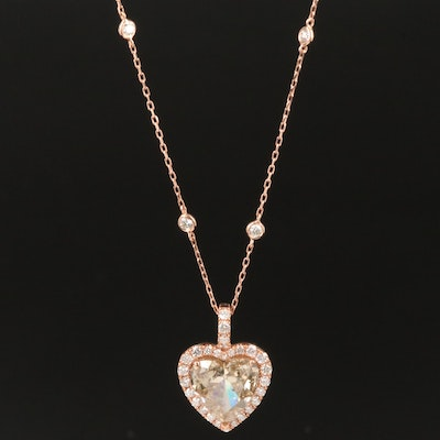 14K Gold 3.93 CTW Diamond Heart Necklace