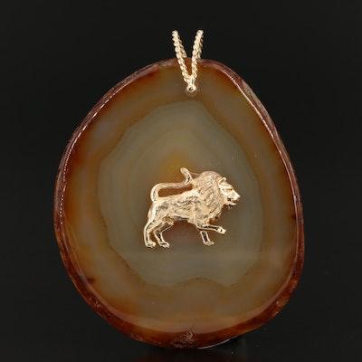 14K Agate Lion Pendant