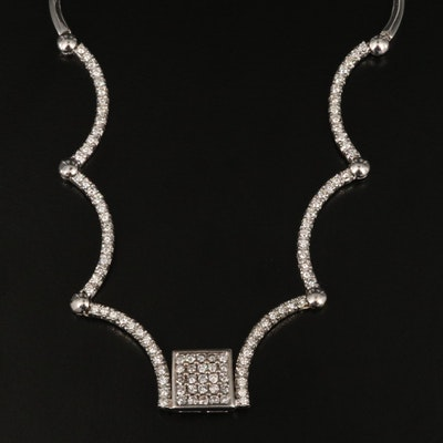 10K and 14K Gold 2.24 CTW Diamond Curved Link Necklace
