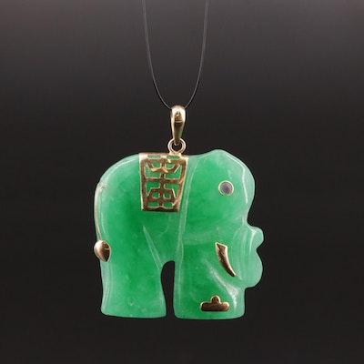 Asian Style 14K Gold Jadeite and Ruby Elephant Pendant