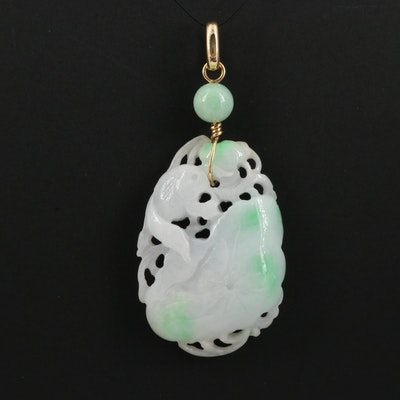Carved Jadeite Pendant with 18K Bail
