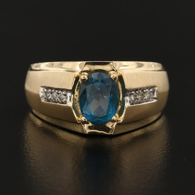 14K Topaz and Diamond Accent Ring
