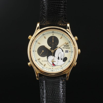"Vintage Seiko ""Mickey & Co."" Lumibrite Chrono Gold Tone Wristwatch"