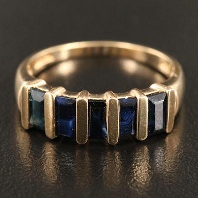 14K Gold Blue Sapphire Ring