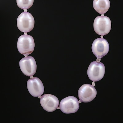 Lavender Pearl Knotted Necklace with 14K Clasp