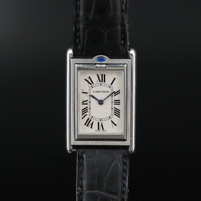 Cartier Tank Basculante Stainless Steel Stem Wind Wristwatch