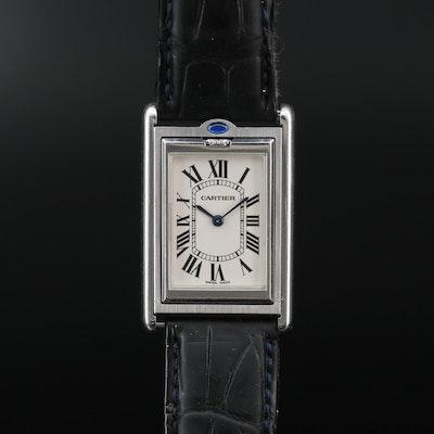 Cartier Tank Basculante Stainless Steel Stem Wind Wristwatch
