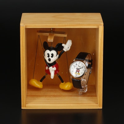 Fossil Mickey Mouse Limited Edition Wristwatch With Collectible Marionette