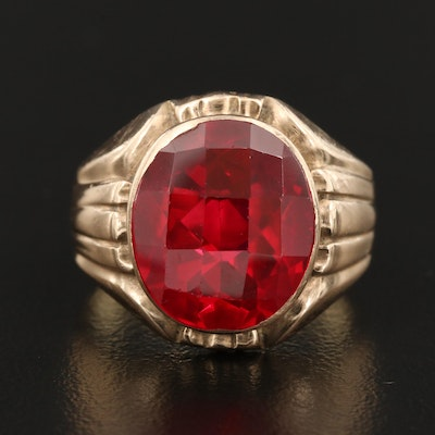 14K Gold Lab Grown Ruby Ring