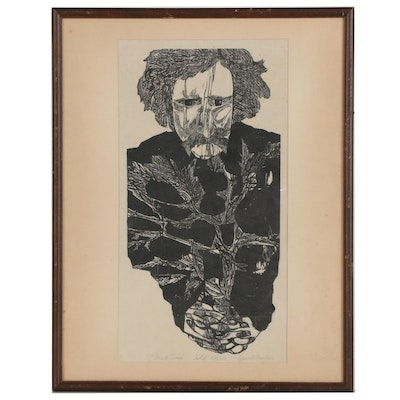 "Jacob Fardau Wood Block Print ""Mark Twain,"" 20th Century"