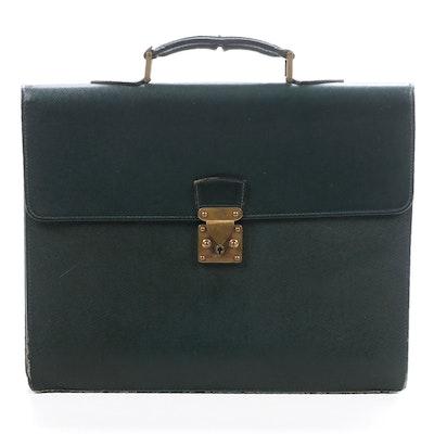 Louis Vuitton Serviette Briefcase in Forest Green Taiga Leather