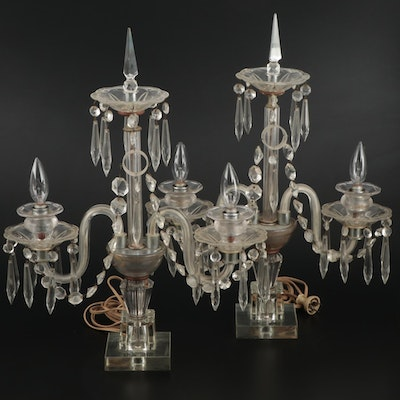 Pair of French Glass Girandole Converted Mantel Lamps