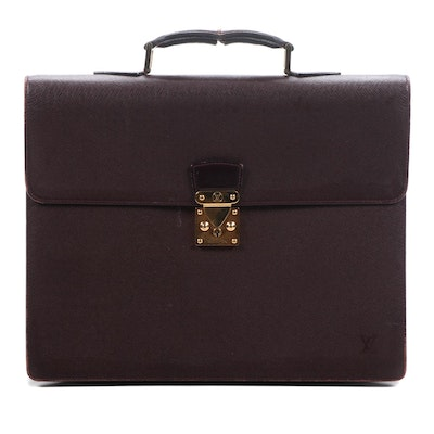 Louis Vuitton Serviette Ambassadeur Briefcase in Burgundy Taiga Leather