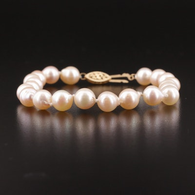 Single Strand Pearl Bracelet with 14K Gold Clasp