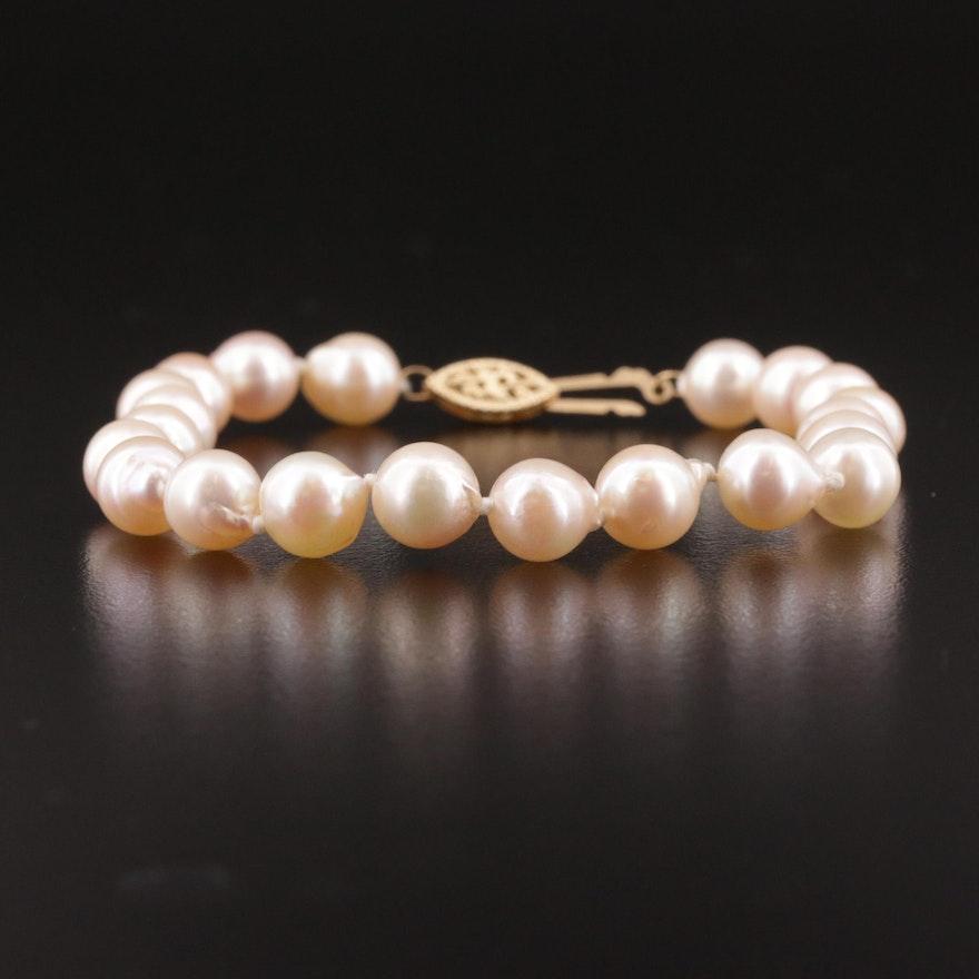 Single Strand Pearl Bracelet with 14K Gold Clasp