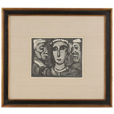 "After Georges Rouault Lithograph Print on Paper ""Les Visages"""