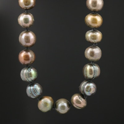 Brownish Green to Green Pearl Knotted Necklace with 14K Clasp