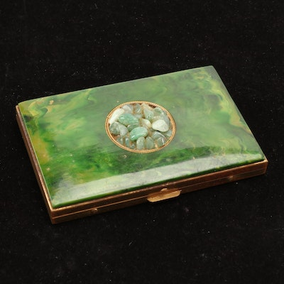 Enameled Gold Tone Metal Card Case with Polished Stones, Mid-20th Century