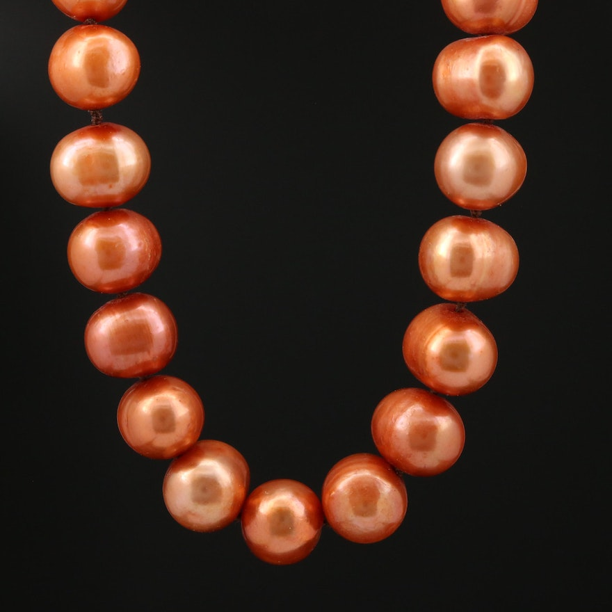 Brownish Orange Pearl Knotted Necklace with 14K Clasp