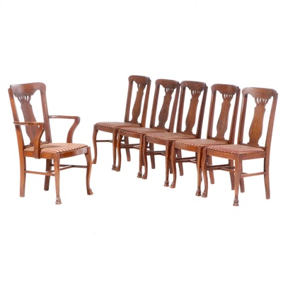 Six Colonial Revival Oak Dining Chairs