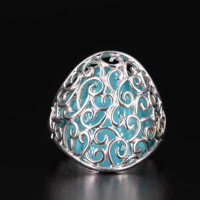 Sterling Chalcedony Openwork Ring