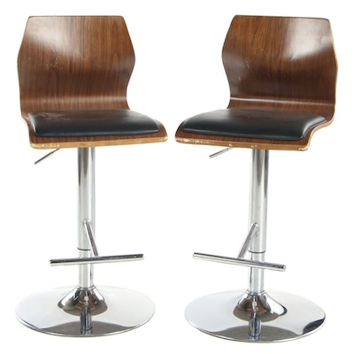 Pair of Laminated Barstools on Adjustable Chrome Pedestals