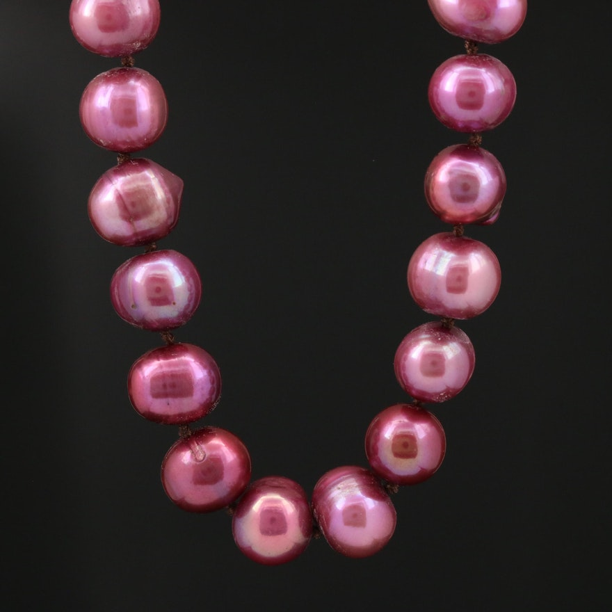 Purple Pearl Knotted Necklace with 14K Clasp