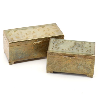 Chinese Brass Stamp Boxes with Pierced Serpentine Lids