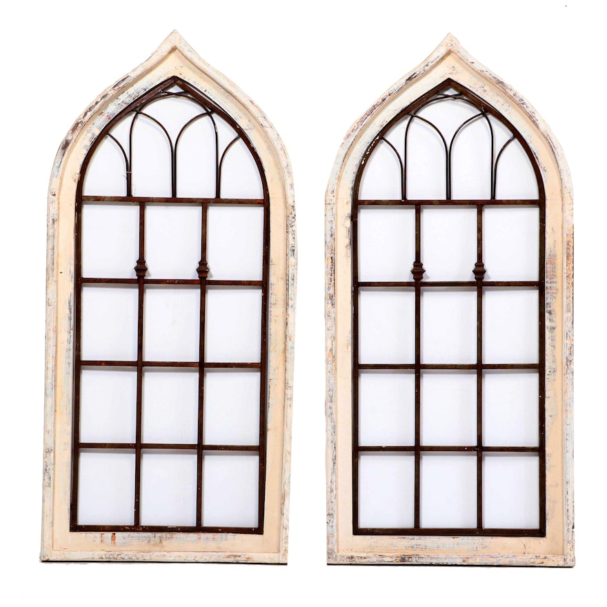 Pair of Gothic Architectural Salvage Style Window Decor Panels