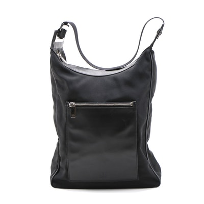 Gucci Black Nylon and Leather Trimmed North South Shoulder Bag