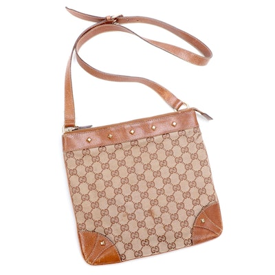 Gucci GG Canvas and Tan Leather Crossbody Bag with Studded Details