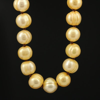 Yellow Pearl Knotted Necklace with 14K Clasp