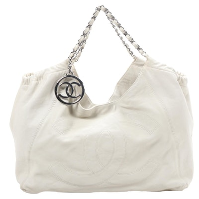 Chanel CC Chain Strap Hobo Shoulder Bag in Bone Caviar Leather