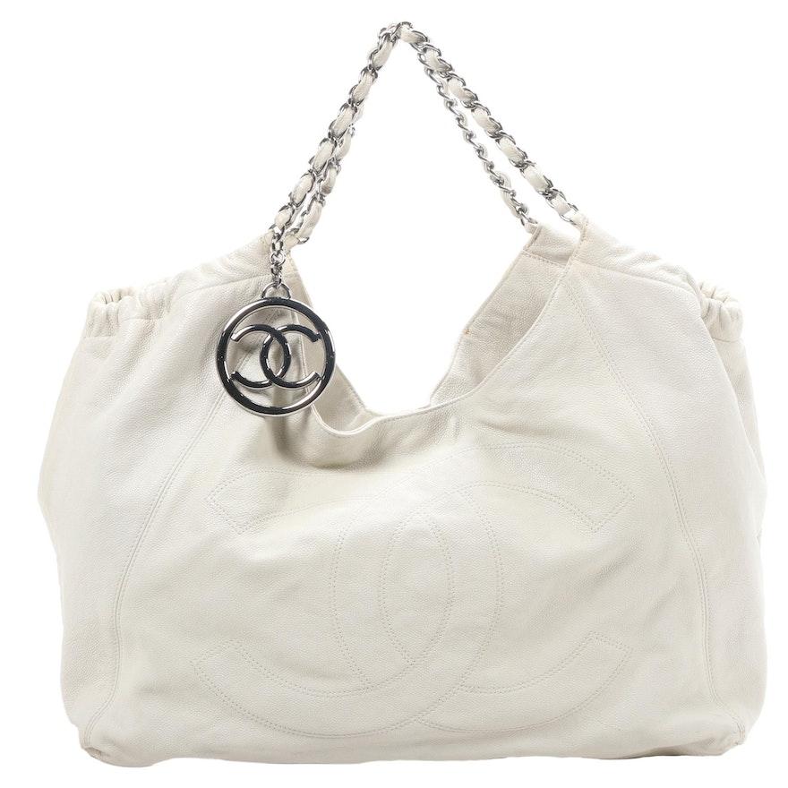 Chanel CC Chain Strap Hobo Shoulder Bag in Bone Caviar Leather