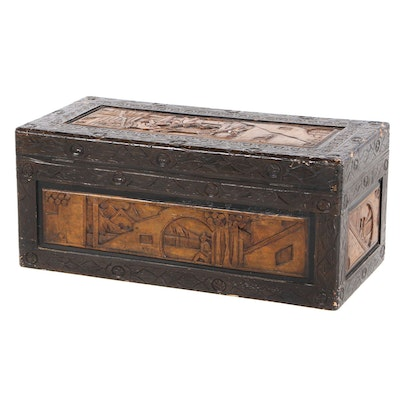 Korean Carved Camphor Wood Chest