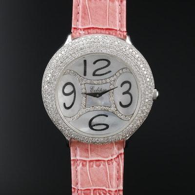 Eclipse 4.00 CTW Diamond Bezel and MOP Dial Stainless Steel Quartz Wristwatch