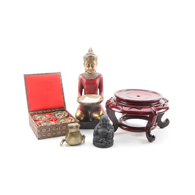 Chinese Brass Hanging Chatelaine Pot with Assorted Asian Décor and Serveware