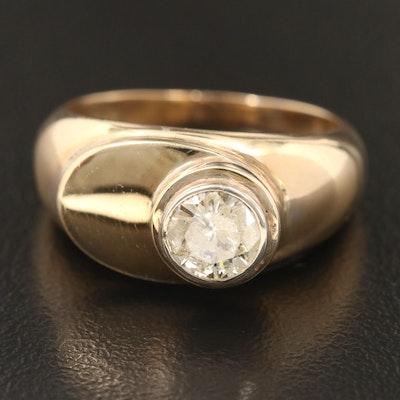 Contemporary 14K Gold Diamond Ring