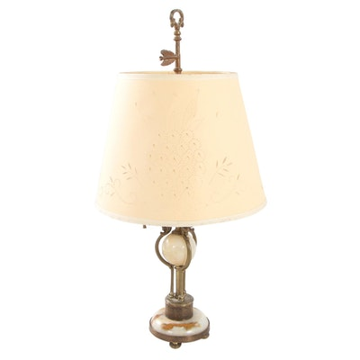 Gilt Metal and Onyx Bouillotte Lamp with Shade