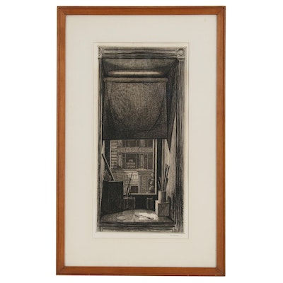 "Armin Landeck Engraving and Drypoint ""Window on 14th Street"", 1949"