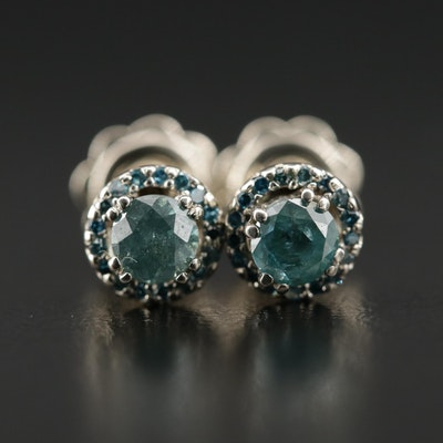 14K Blue Diamond Stud Earrings