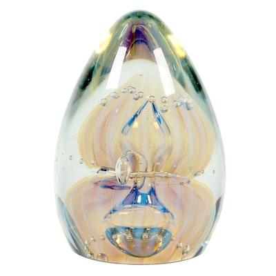 Robert Eickholt Handblown Iridescent Art Glass Paperweight, 2008